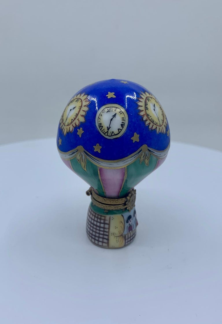 French Provincial Unique Limoges Rochard France Hand Painted Hot Air Balloon Porcelain Trinket Box For Sale