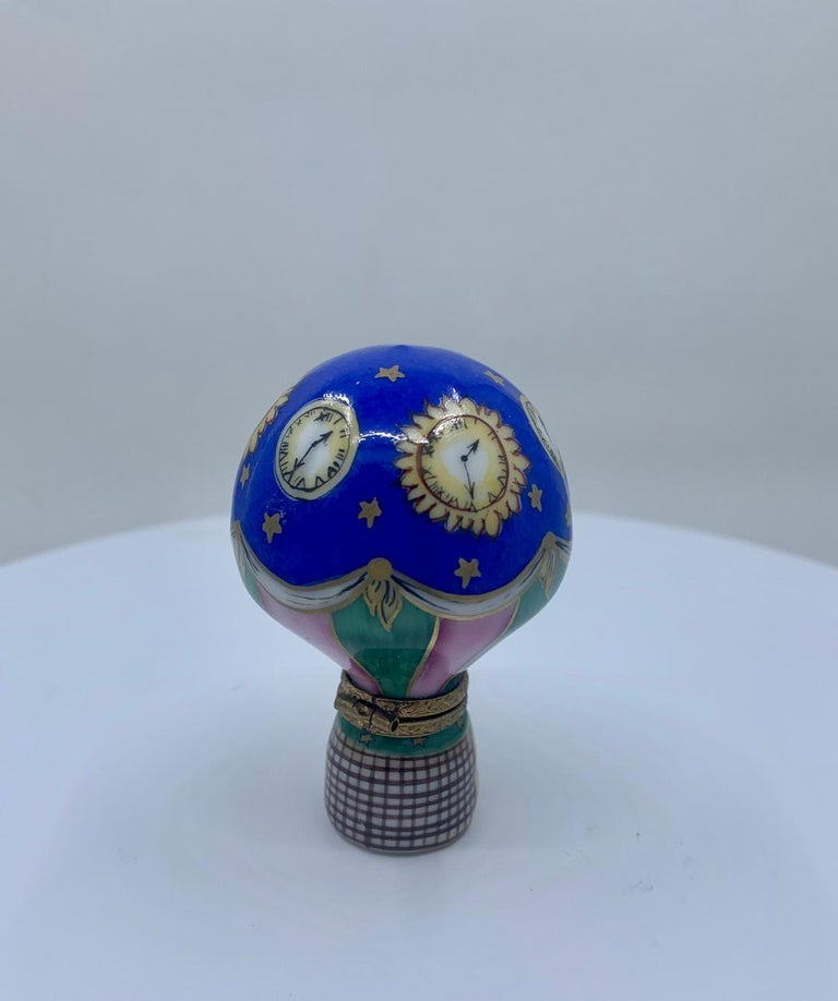 French Unique Limoges Rochard France Hand Painted Hot Air Balloon Porcelain Trinket Box For Sale