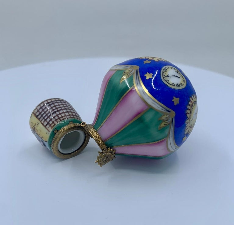 20th Century Unique Limoges Rochard France Hand Painted Hot Air Balloon Porcelain Trinket Box For Sale