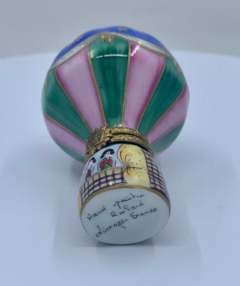 Unique Limoges Rochard France Hand Painted Hot Air Balloon Porcelain Trinket Box For Sale 1
