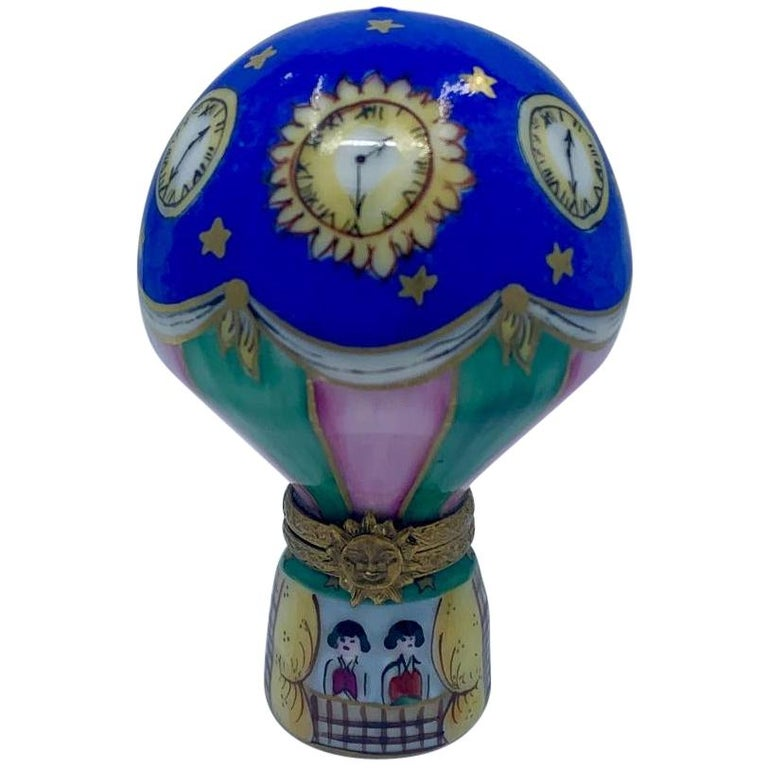 Unique Limoges Rochard France Hand Painted Hot Air Balloon Porcelain Trinket Box For Sale