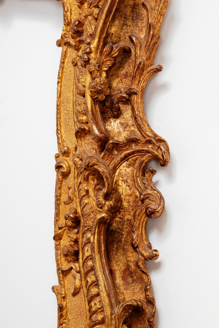 Mid-18th Century Unique Louis XV Period French Rococo Extraordinary Carved Giltwood Frame/Mirror For Sale
