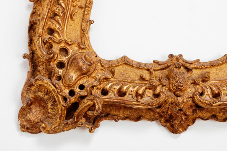 Unique Louis XV Period French Rococo Extraordinary Carved Giltwood Frame/Mirror For Sale 3