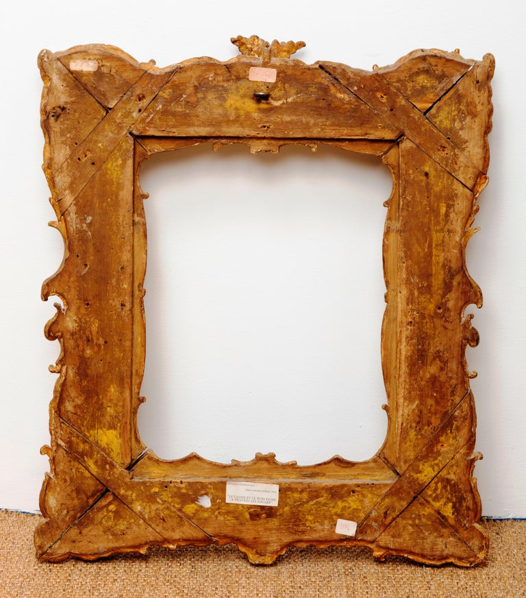 Unique Louis XV Period French Rococo Extraordinary Carved Giltwood Frame/Mirror For Sale 5