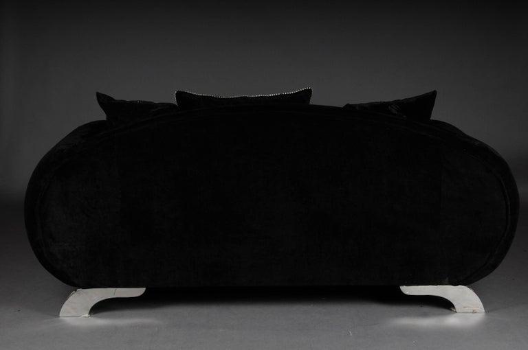 Unique Luxurious Designer Sofa or Couch, Rhinestones, Black Velvet. Highlight For Sale 4