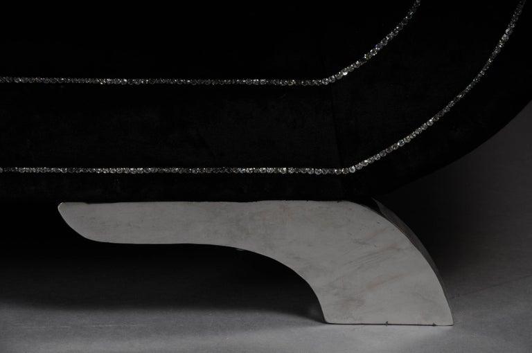Modern Unique Luxurious Designer Sofa or Couch, Rhinestones, Black Velvet. Highlight For Sale