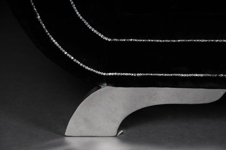 German Unique Luxurious Designer Sofa or Couch, Rhinestones, Black Velvet Highlight For Sale