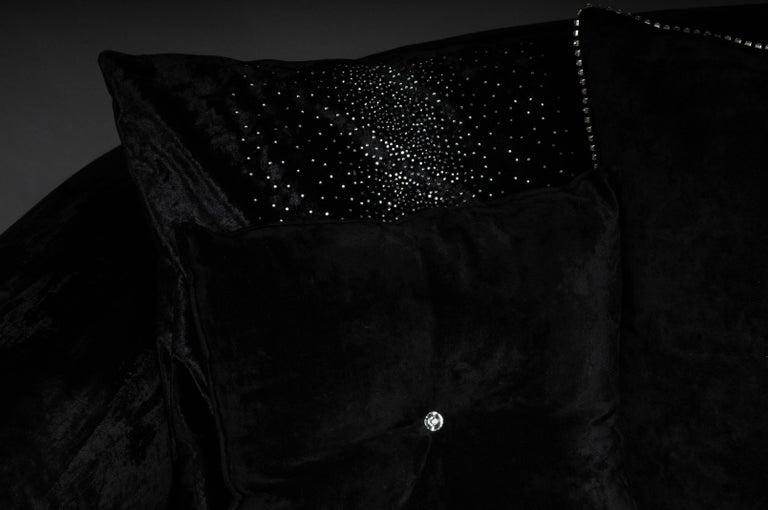 Unique Luxurious Designer Sofa or Couch, Rhinestones, Black Velvet. Highlight In Good Condition For Sale In Berlin, DE