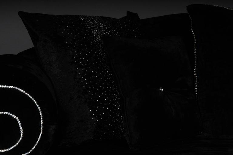 Unique Luxurious Designer Sofa or Couch, Rhinestones, Black Velvet Highlight In Good Condition For Sale In Berlin, DE