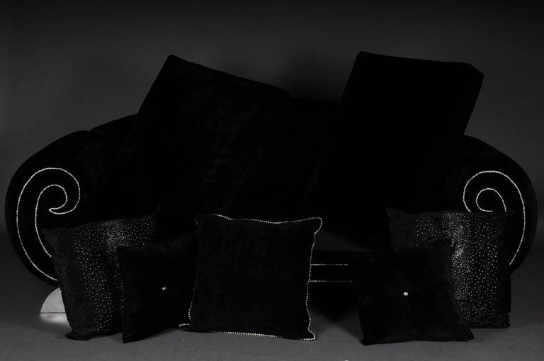 Contemporary Unique Luxurious Designer Sofa or Couch, Rhinestones, Black Velvet Highlight For Sale