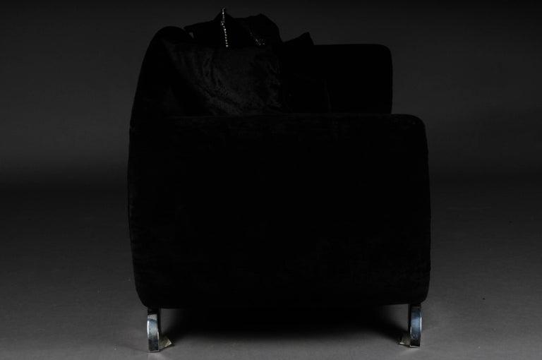 Unique Luxurious Designer Sofa or Couch, Rhinestones, Black Velvet. Highlight For Sale 2