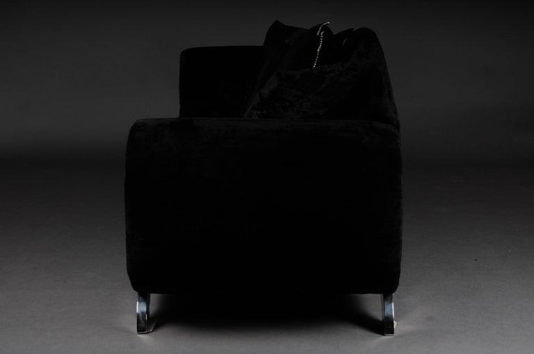 Unique Luxurious Designer Sofa or Couch, Rhinestones, Black Velvet Highlight For Sale 2