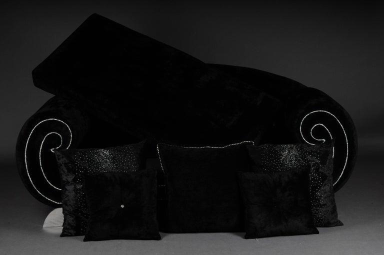 Unique Luxurious Designer Sofa or Couch, Rhinestones, Black Velvet. Highlight For Sale 3