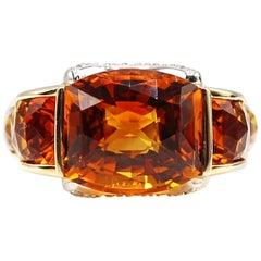Unique Madeira Citrine Diamond Yellow Gold Ring