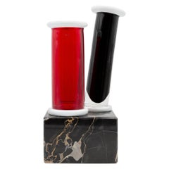 Unique Marble and Murano Glass Vase by Ettore Sottsass for Venini, Memphis