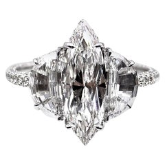 Unique Marquis and Half Moon GIA D Color Diamond Engagement Ring