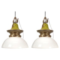 Unique Matching Pair of Domed Humphrey Lamps