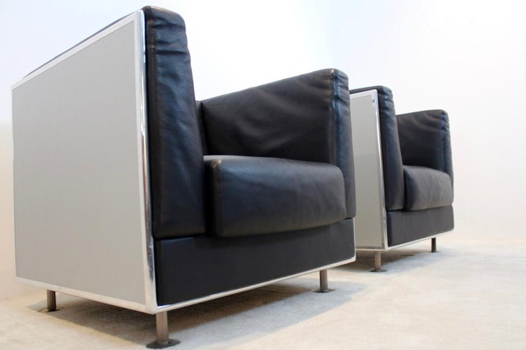 Mid-Century Modern Unique Matteo Grassi Soft Leather Armchairs in Aluminium Shell Designed by Kuni For Sale