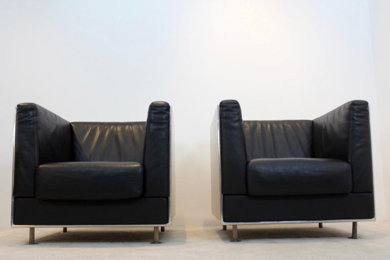 Unique Matteo Grassi Soft Leather Armchairs in Aluminium Shell Designed by Kuni For Sale 1