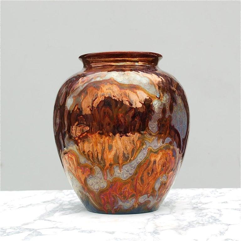 Dutch Unique Metallique Lustre Vase by Plazuid Gouda, 1950s Netherlands For Sale