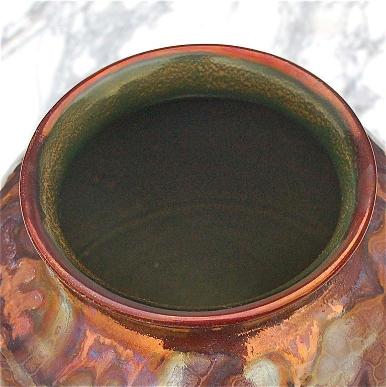 Glazed Unique Metallique Lustre Vase by Plazuid Gouda, 1950s Netherlands For Sale