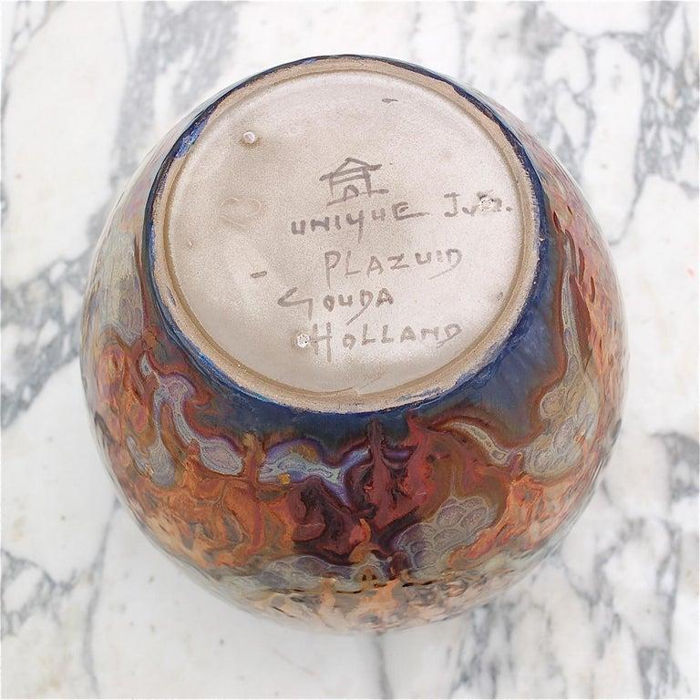 Earthenware Unique Metallique Lustre Vase by Plazuid Gouda, 1950s Netherlands For Sale
