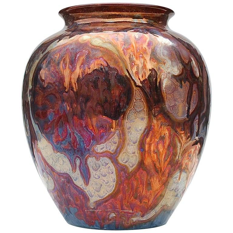 Unique Metallique Lustre Vase by Plazuid Gouda, 1950s Netherlands For Sale