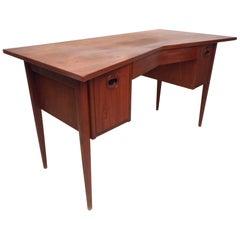 Unique Midcentury Desk with Cane Back