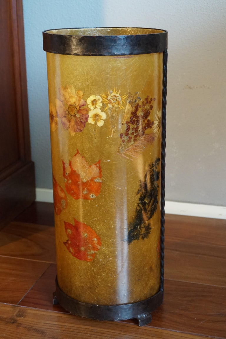 Unique Mid-Century Modern Flower & Leafs Inlaid French Umbrella Stand by Accolay For Sale 6
