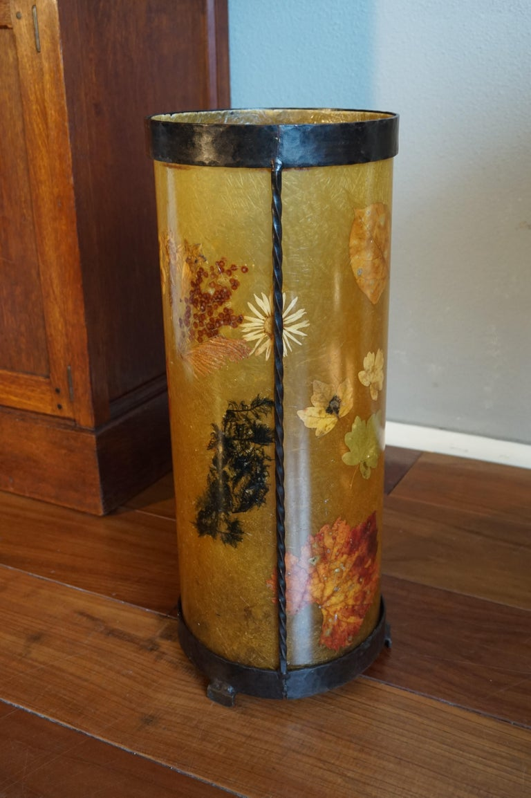 Unique Mid-Century Modern Flower & Leafs Inlaid French Umbrella Stand by Accolay For Sale 8