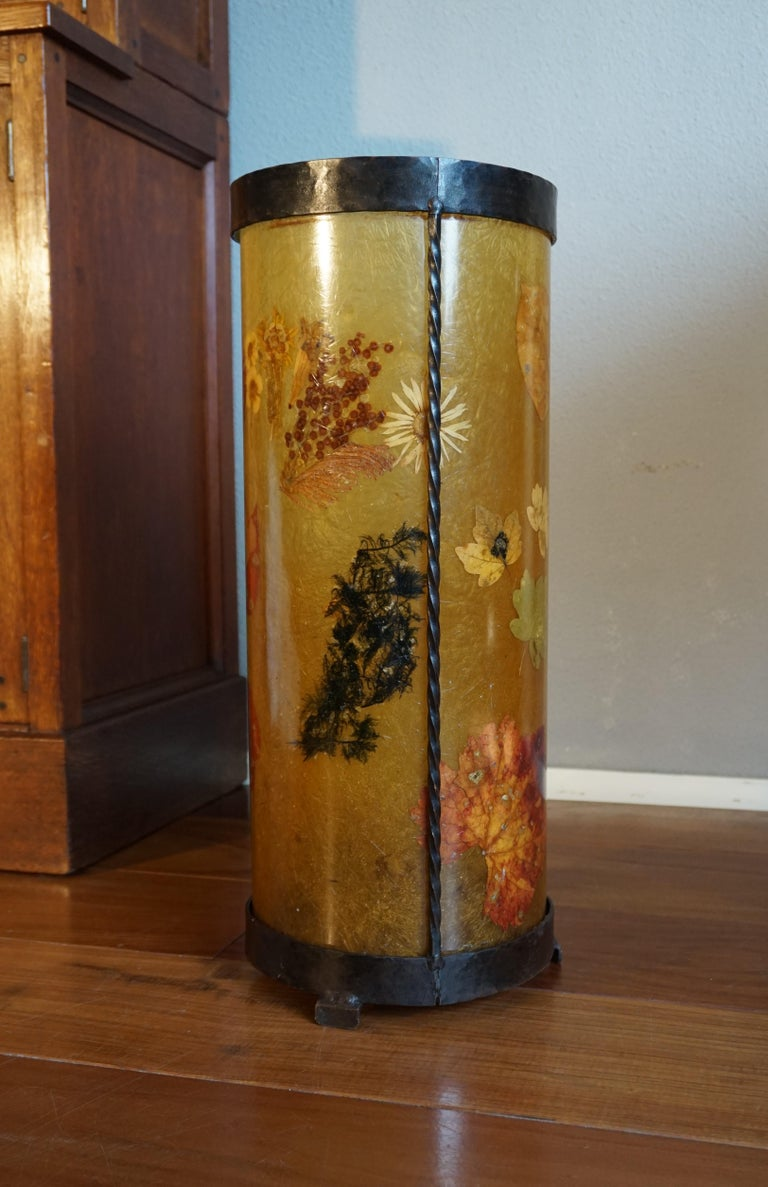 Unique Mid-Century Modern Flower & Leafs Inlaid French Umbrella Stand by Accolay For Sale 9