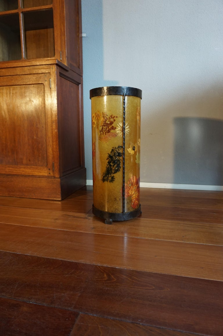 Organic Modern Unique Mid-Century Modern Flower & Leafs Inlaid French Umbrella Stand by Accolay For Sale