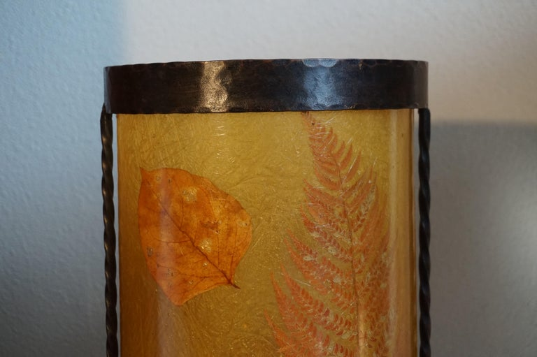 20th Century Unique Mid-Century Modern Flower & Leafs Inlaid French Umbrella Stand by Accolay For Sale