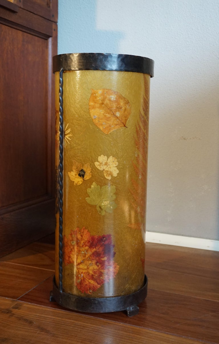 Unique Mid-Century Modern Flower & Leafs Inlaid French Umbrella Stand by Accolay For Sale 1