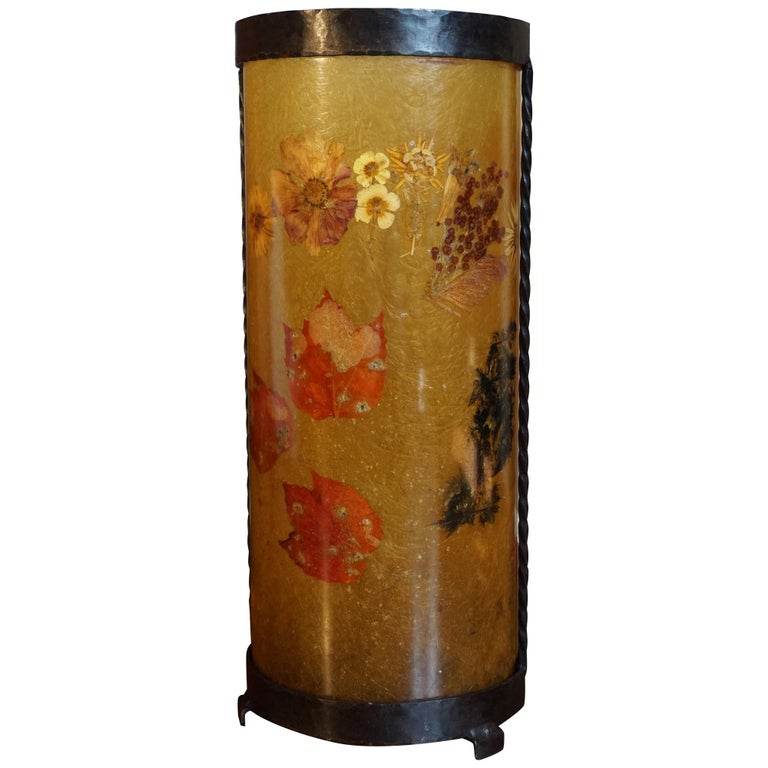 Unique Mid-Century Modern Flower & Leafs Inlaid French Umbrella Stand by Accolay For Sale