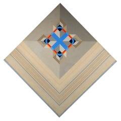 Unique Mid-Century Modern Geometric Oil Painting on Canvas