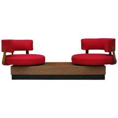 Unique Mid-Century Modern Red Swivel Lounge Chairs Sofa on Platform Base