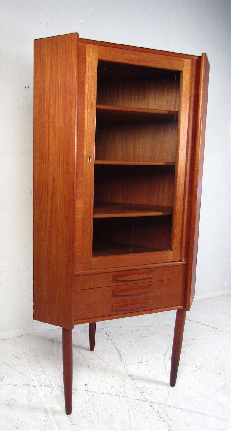 Danish Unique Mid-Century Modern Teak Corner Cabinet For Sale