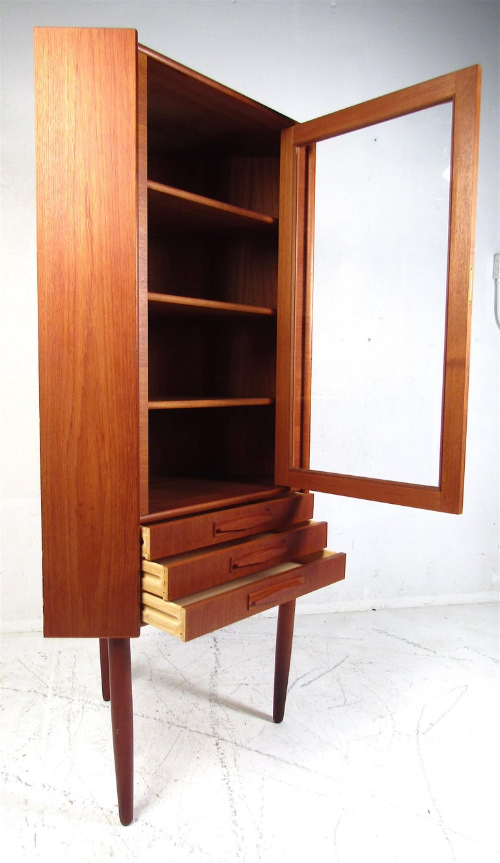 Mid-20th Century Unique Mid-Century Modern Teak Corner Cabinet For Sale