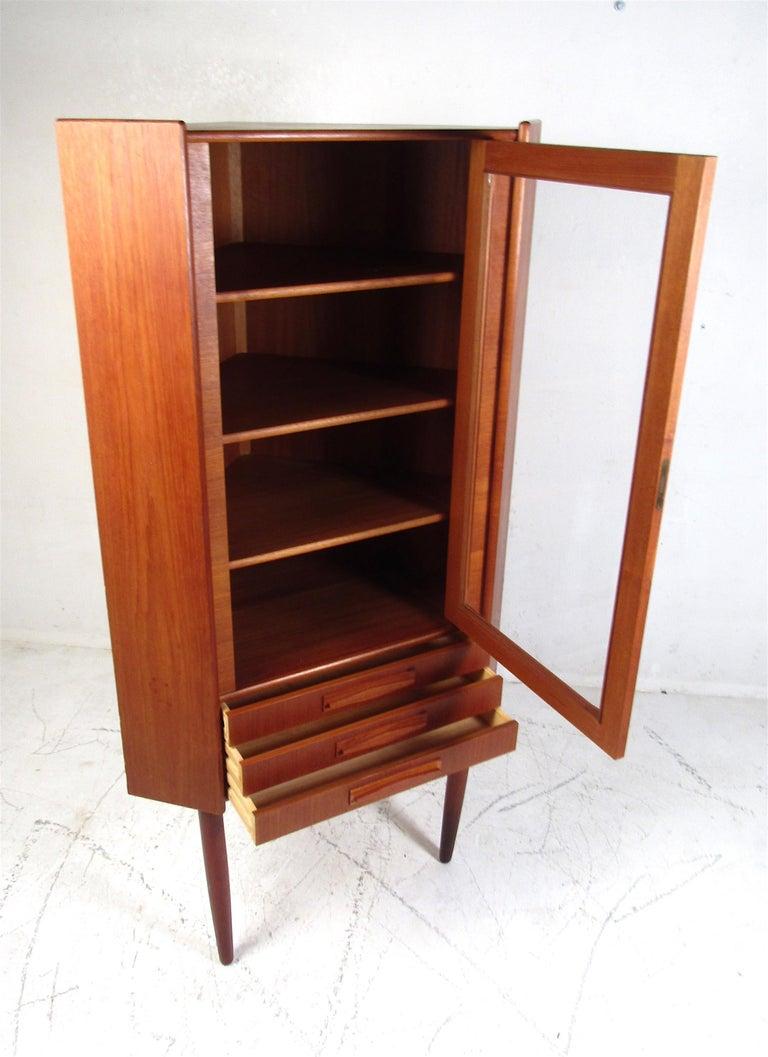 Glass Unique Mid-Century Modern Teak Corner Cabinet For Sale