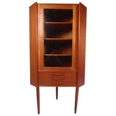 Unique Mid-Century Modern Teak Corner Cabinet
