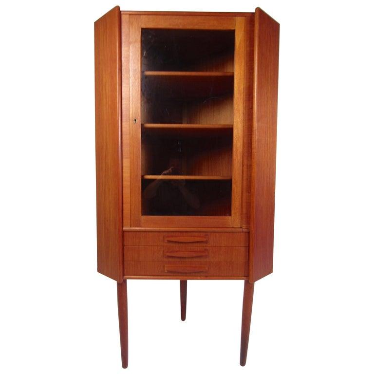 Unique Mid-Century Modern Teak Corner Cabinet For Sale