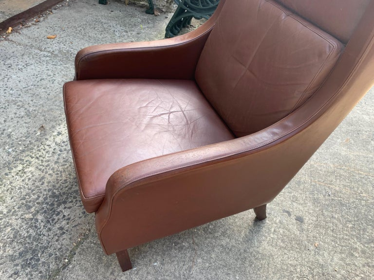 Unique Mid-Century Modern Vintage Leather Danish Lounge Chair For Sale 7