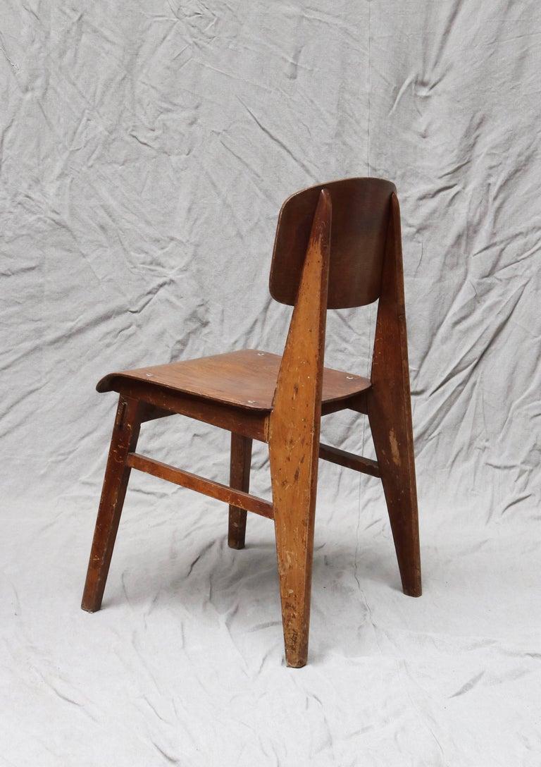 Mid-Century Modern Unique Midcentury Wooden Chair by Jean Prouvé For Sale