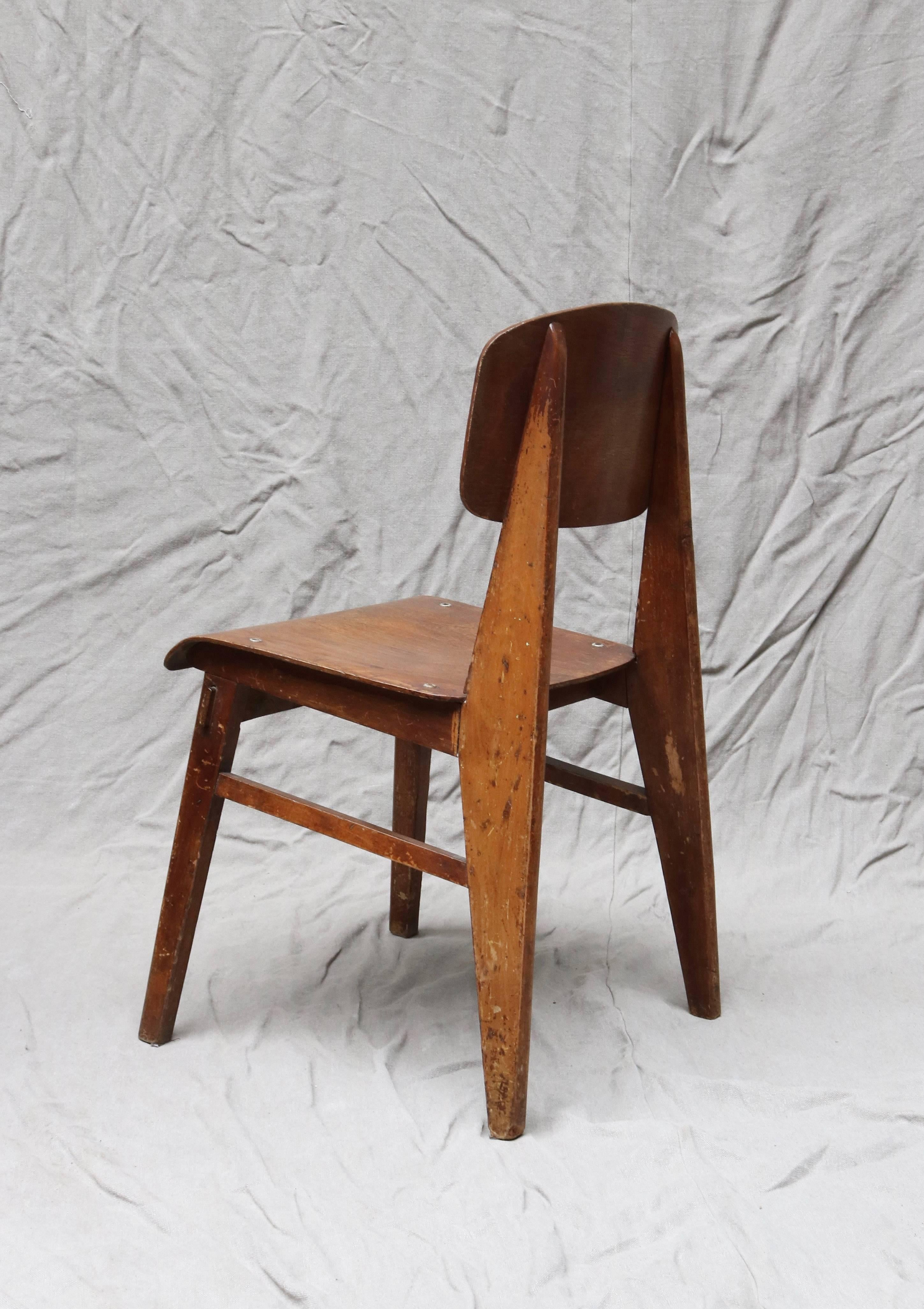 Mid Century Modern Unique Midcentury Wooden Chair By Jean Prouvé For Sale