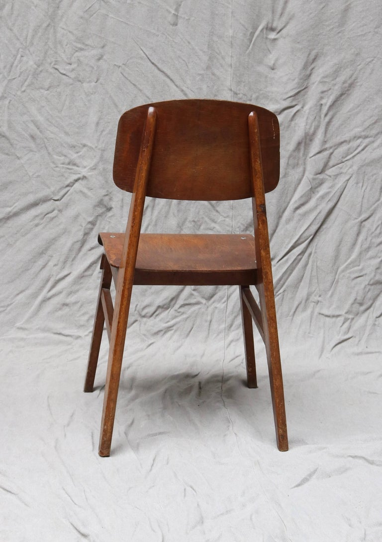 French Unique Midcentury Wooden Chair by Jean Prouvé For Sale