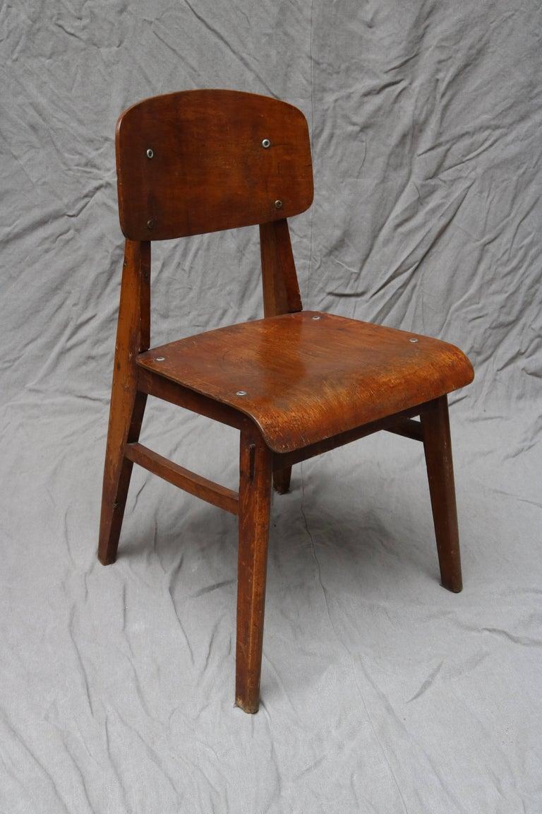 Unique Midcentury Wooden Chair by Jean Prouvé In Good Condition For Sale In Copenhagen, DK