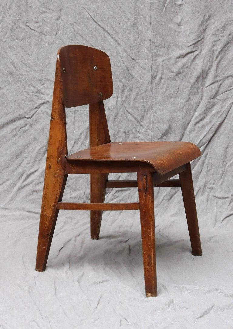 Mid-20th Century Unique Midcentury Wooden Chair by Jean Prouvé For Sale