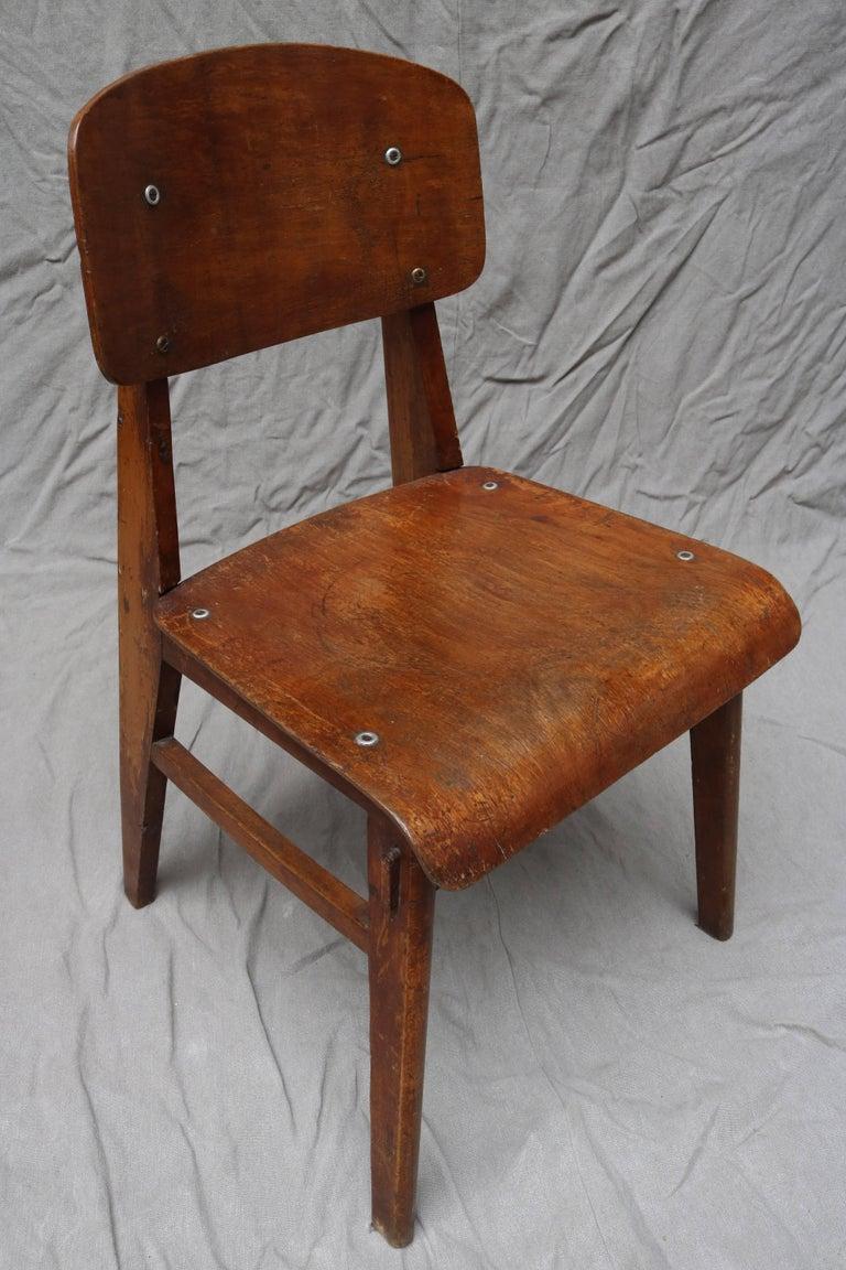 Oak Unique Midcentury Wooden Chair by Jean Prouvé For Sale