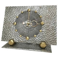 Unique Midcentury Brutalist Brass and Steel Table Clock, 1950s, Germany
